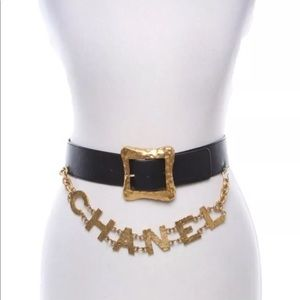 RARE CHANEL Logo Leather Gold Belt Runway